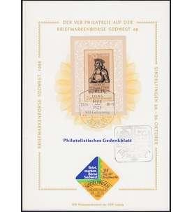 DDR Gedenkblatt mit Block 93 Briefmarke