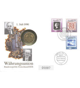 Numisbrief Währungsunion 1990 Briefmarke