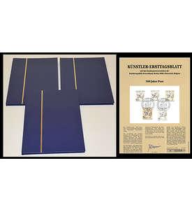 3 x A4/16 schwarzen Seiten Briefmarkenalbum Einsteckbuch mit Künstler Ersttagsblatt Briefmarke