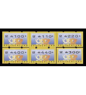BRD Bund ATM3.2 VS1 postfrisch ** mit rückseitiger Nr. 100/110/220/300/400/440 Pfennig