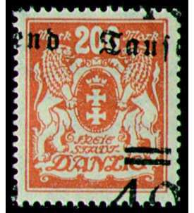 Danzig Nr. 158 postfrisch mit verschobenem Aufdruck Briefmarke