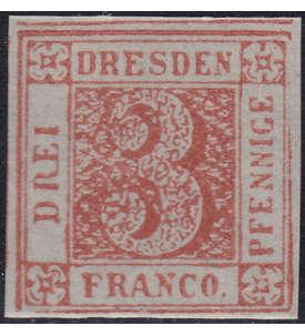 Dresden Dreier ungestempelt Briefmarke