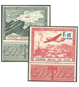 Deutsche Besetzung Frankreich Nr. IIb+III postfrisch mit Zierrandstück Briefmarke