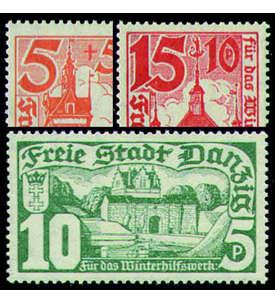 Danzig 8 postfrische ** Sätze dabei Nr. 256-258 Briefmarke