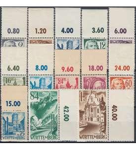 Französische Zone Württemberg Nr. 1-13 postfrisch Oberrandsatz Briefmarke