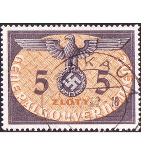 Deutsche Besetzung 2. Weltkrieg mit Generalgouvernement Dienstmarke Nr. 15 gestempelt Briefmarke