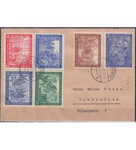 Alliierte Besetzung Schmuckbeleg mit 3 Messesätzen Nr. 941-42,965-66,967-68 Briefmarke