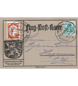 Deutsches Reich Nr. II auf Flugpost-Karte Briefmarke
