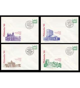 DDR 4 Ganzsachenumschläge PU17/2-5 gestempelt Briefmarke