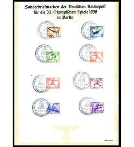 Deutsches Reich Nr. 609-616 auf Olympia-Gedenkblatt Briefmarke