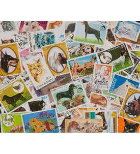 100 Hunde/Katzen Briefmarke
