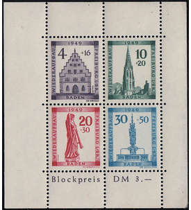 Französische Zone Baden Block 1A postfrisch ** in Überbreite Briefmarke