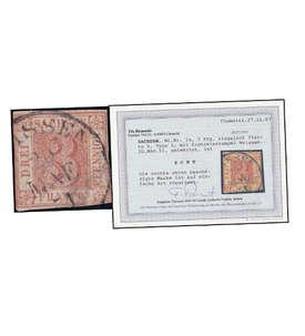 Sachsen Nr. 1 gestempelt mit Befund Rismondo Briefmarke