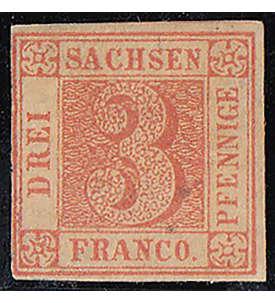 Sachsen Nr. 1 ungestempelt geprüft und signiert Briefmarke