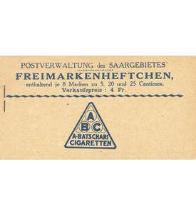 Saar Markenheft Nr. 1 postfrisch ** Briefmarke