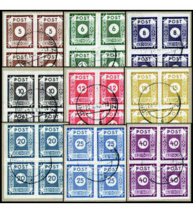 SBZ Nr. 42-50G gestempelt im Viererblock geprüft Zierer Briefmarke