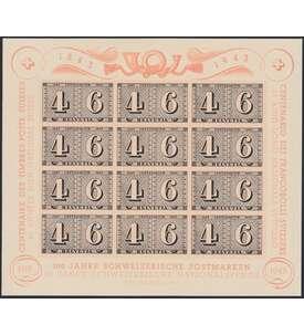 Schweiz Block 9 postfrisch ** 100 Jahre Briefmarken 1943 Briefmarke