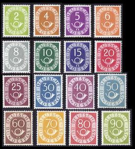 BRD Bund  POSTHORN-SATZ (123-138) UNGESTEMPELT Briefmarke