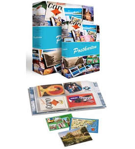 LEUCHTTURM-Postkarten Album für bis zu 200 Postkarten mit 50 festeingebundenen Hüllen  für Briefmarken