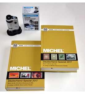 MICHEL Deutschland-Spezial 2017 Band 1+2 komplett + LEUCHTTURM Zoom-Mikroskop Briefmarke